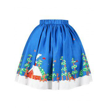 Christmas Butterfly Elk Tree Print Skirt - BLUE L