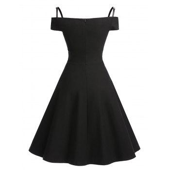 Vintage Cold Shoulder Skater Pin Up Dress - BLACK BLACK