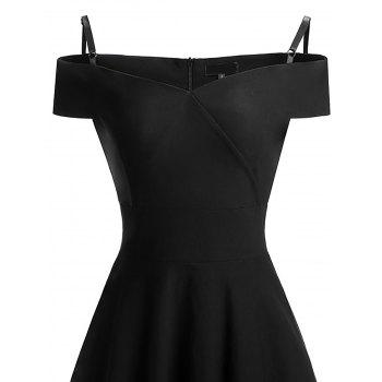 Patineur d'épaule froide Vintage Pin Up Dress - Noir L