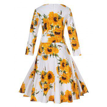 Vintage Sunflower Print Pin Up Skater Dress - M M