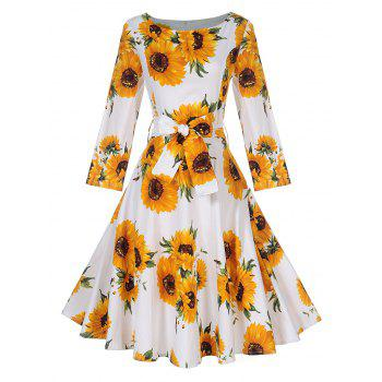 Vintage Sunflower Print Pin Up Skater Dress - YELLOW M