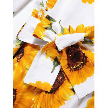 Vintage Sunflower Print Pin Up Skater Dress - YELLOW YELLOW