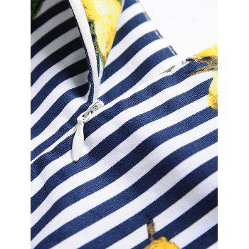 Vintage Lemon Print Striped Pin Up Skater Dress - STRIPE L