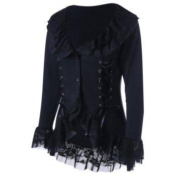 Lace Hem Lace Up Coat Gothique - Noir 2XL