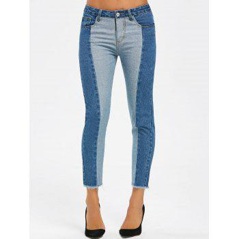 Two Tone Raw Edge Crop Jeans - DENIM BLUE DENIM BLUE