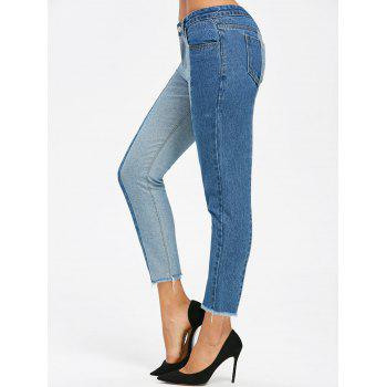 Two Tone Raw Edge Crop Jeans - DENIM BLUE 2XL