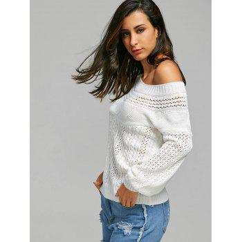 Chic Long Sleeve Boat Neck Pure Color Women's Sweater - WHITE XL
