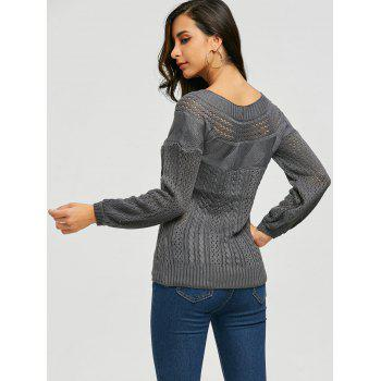 Chic Long Sleeve Boat Neck Pure Color Women's Sweater - GRAY XL