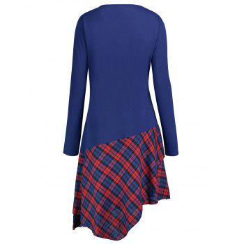 Lace Panel Plus Size Plaid Trim Blouse - BLUE BLUE