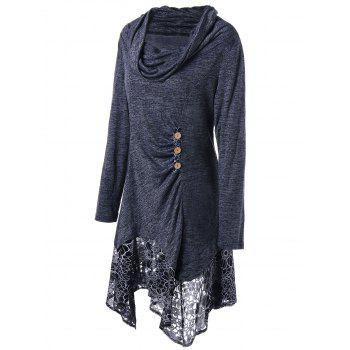 Plus Size Cowl Neck Floral Longline Top - DEEP GRAY 2XL