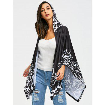 Asymmetric Open Front Hooded Cape - BLACK BLACK