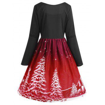 Plus Size Lace Up Christmas Tree Print Dress - WINE RED 3XL