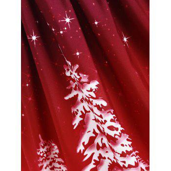 Plus Size Lace Up Christmas Tree Print Dress - WINE RED 5XL