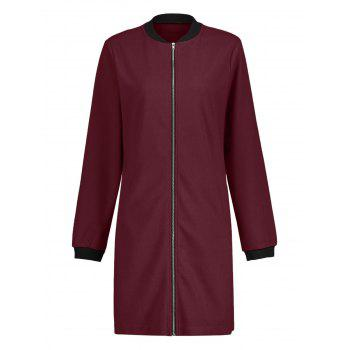 Long Zip Up Coat - Vin rouge S