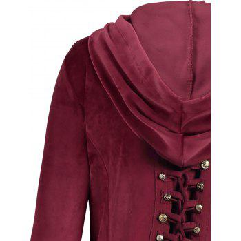 Asymmetric Hooded Plus Size Button Up Velvet Coat - XL XL