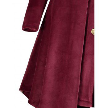 Asymmetric Hooded Plus Size Button Up Velvet Coat - WINE RED 4XL