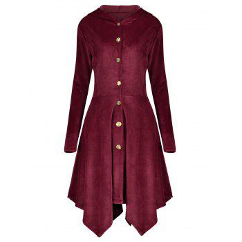 Asymmetric Hooded Plus Size Button Up Velvet Coat - WINE RED WINE RED