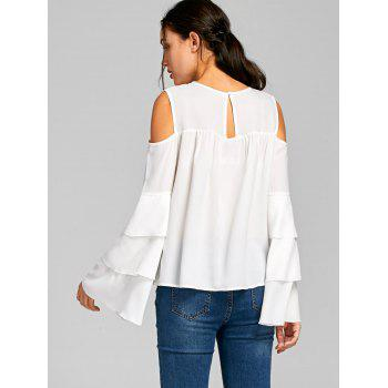 Sheer Cold Shoulder Layered Flare Sleeve Blouse - XL XL