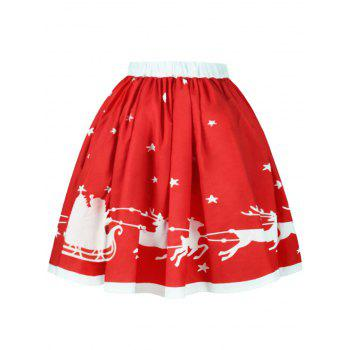 Christmas Elk Star Print A Line Skirt - RED RED