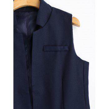 Open Front Long Vest - PURPLISH BLUE M
