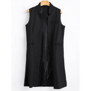Open Front Long Vest - BLACK BLACK