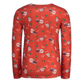 Christmas Patterned Long Sleeve T-shirt - RED XL