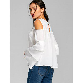Sheer Cold Shoulder Layered Flare Sleeve Blouse - WHITE WHITE