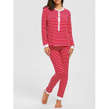 Christmas Striped Long Sleeve PJ Set - RED RED