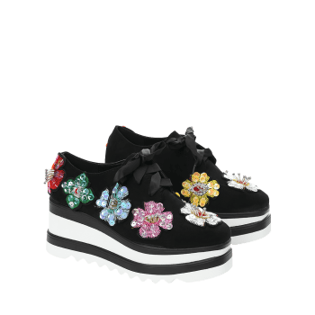 Flowers Square Toe Wedge Shoes - BLACK BLACK