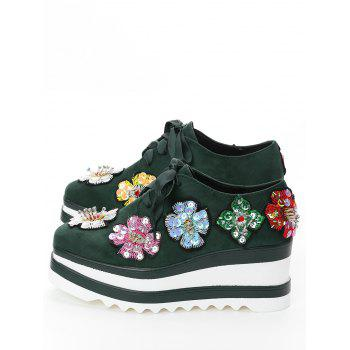 Flowers Square Toe Wedge Shoes - ARMY GREEN ARMY GREEN