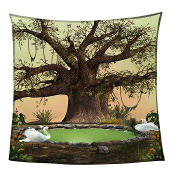 Life Tree Swans Lake Patterned Coral Fleece Blanket - GREEN GREEN