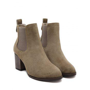 Chunky Heel Elastic Band Ankle Boots - BROWN 38