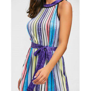 Rainbow Color Striped Maxi Dress - COLORFUL COLORFUL