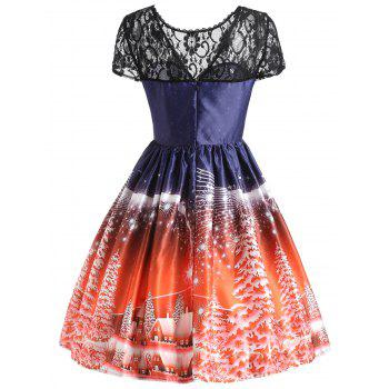Christmas Tree Lace Panel Vintage Dress - JACINTH JACINTH
