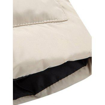 Funnel Collar Snap Button Padded Vest - WHITE WHITE