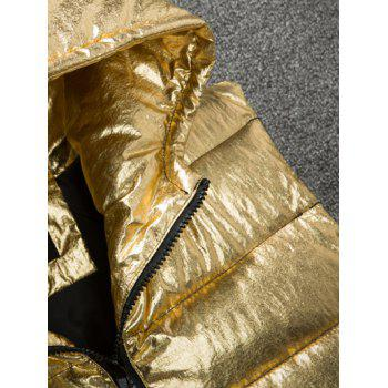 Zipper Up Metallic Color Hooded Quilted Vest - SILVER L