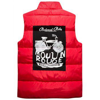 Snap Button Up Graphic Printed Quilted Vest - RED RED