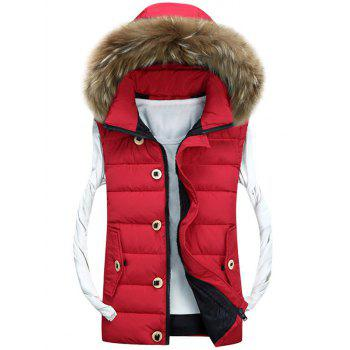 Zipper Up Detachable Hood Padded Vest - RED RED