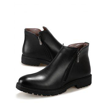 Side Zip Faux Leather Ankle Boots - BLACK 41