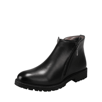 Side Zip Faux Leather Ankle Boots - BLACK 44