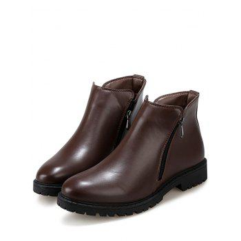 Side Zip Faux Leather Ankle Boots - BROWN 43