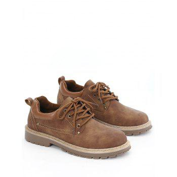 Rivets Faux Leather Casual Shoes - BROWN 44