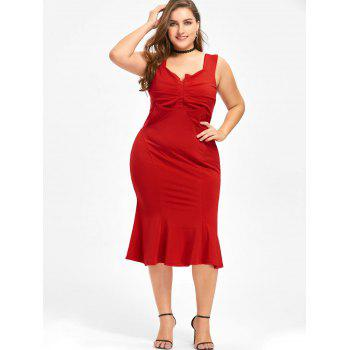 Plus Size Sleeveless Fishtail Dress - RED 5XL