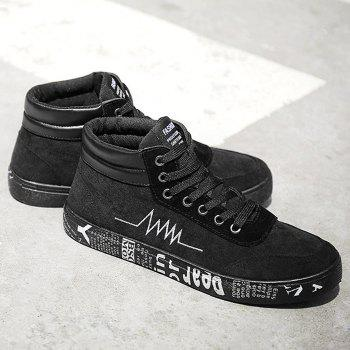Graphic Sole Embroidery High Top Skate Shoes - BLACK 43