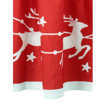 Christmas Elk Star Print A Line Skirt - RED M