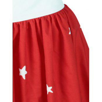Christmas Elk Star Print A Line Skirt - RED L
