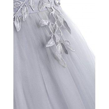 Leaf Embroidered Formal Evening Dress - GRAY XL