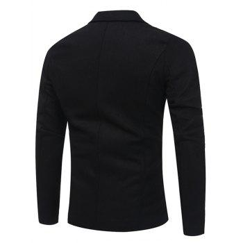 Pocket Single Breasted Woolen Coat - BLACK 3XL