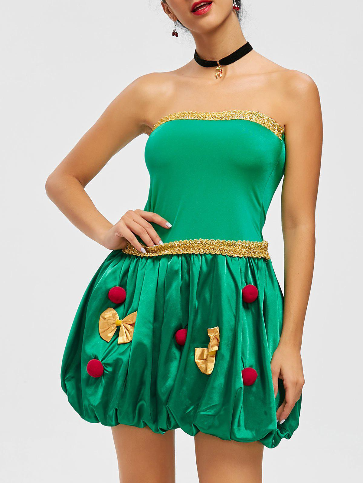 Strapless Pompom Holiday Costume Dress - GREEN ONE SIZE