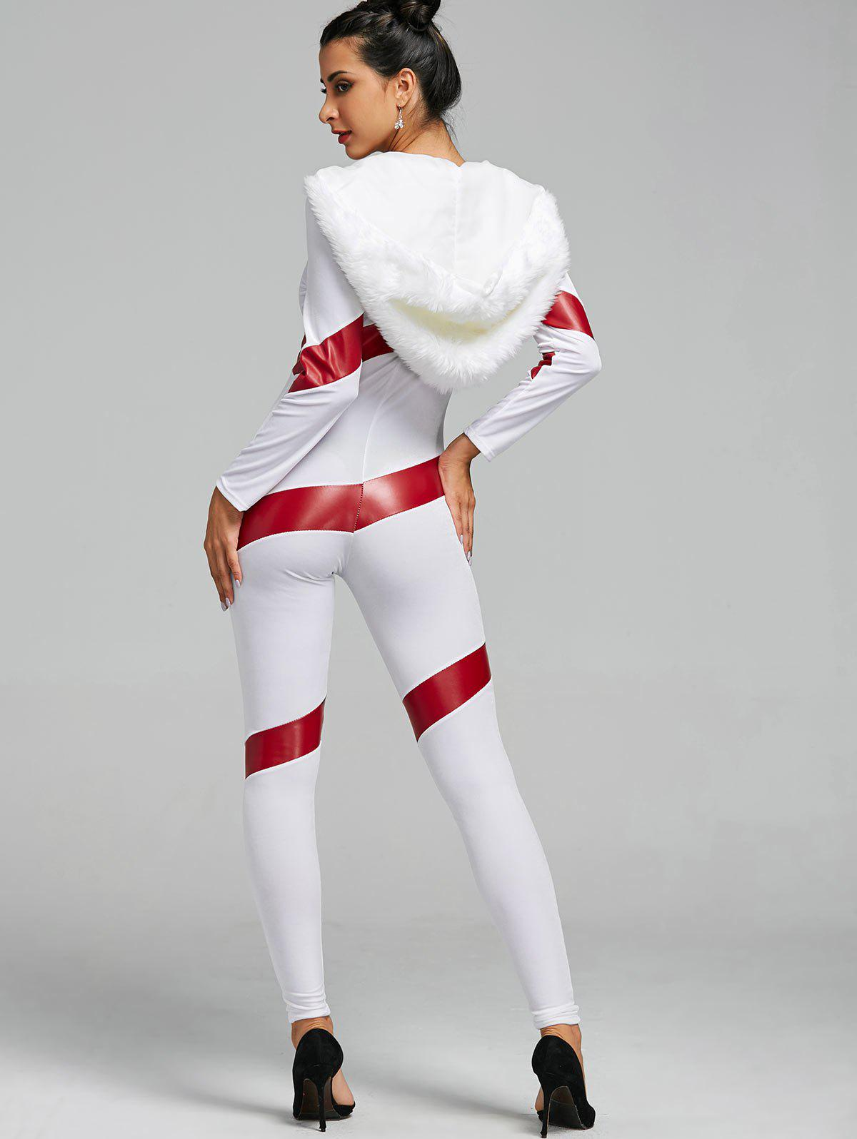Hooded Christmas Faux Fur Costume Jumpsuit - RED/WHITE ONE SIZE